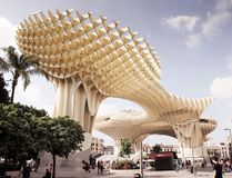 Struktur för architecure för Metropol slags solskydd stor trämodern Seville Spanien, Andalusia Royaltyfri Fotografi