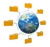 Struktur för mappvärldsnätverk Arkivfoton