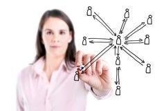 Struktur för nätverk för ung teckning för affärskvinna social, vit bakgrund. arkivbilder