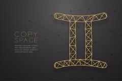 Struktur för ram för polygon för Gemini Zodiac teckenwireframe guld-, illustration för design för begrepp för förmögenhetkassör royaltyfri illustrationer