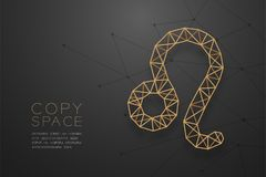 Struktur för ram för polygon för Leo Zodiac teckenwireframe guld-, Fortun vektor illustrationer