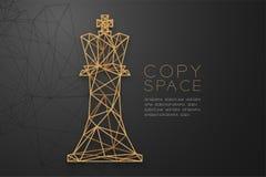 Struktur för ram för polygon för schackdrottningwireframe guld-, illustration för design för begrepp för affärsstrategi vektor illustrationer