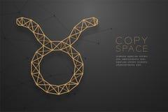 Struktur för ram för polygon för Taurus Zodiac teckenwireframe guld-, illustration för design för begrepp för förmögenhetkassör vektor illustrationer