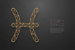 Struktur för ram för polygon för wireframe för Fiskarnazodiaktecken guld-, för royaltyfri illustrationer