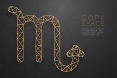 Struktur för ram för polygon för wireframe för Skorpionzodiaktecken guld-, Fo vektor illustrationer