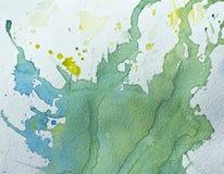 struktura abstrakcyjna Zieleni, błękita i koloru żółtego akwareli plamy na papierze, royalty ilustracja