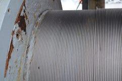 Struktura: na kablowym bębenie ośniedziały stalowy drut Obrazy Stock