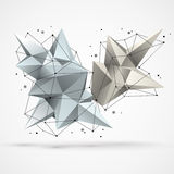 Struktura z poligonalnymi kształtami i wireframe siatką royalty ilustracja