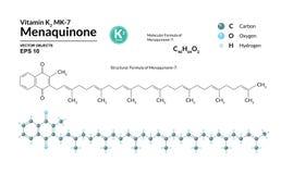 Strukturell kemisk molekylär formel och modell av Menaquinone-7 Atomer föreställs som sfärer med att kodifiera för färg royaltyfri illustrationer