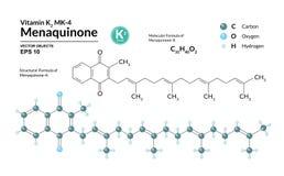 Strukturell kemisk molekylär formel och modell av Menaquinone-4 Atomer föreställs som sfärer med att kodifiera för färg royaltyfri illustrationer