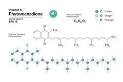 Strukturell kemisk molekylär formel och modell av Phytomenadione Atomer föreställs som sfärer med att kodifiera för färg vektor illustrationer