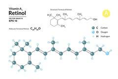 Strukturell kemisk molekylär formel och modell av retinol Atomer föreställs som sfärer med att kodifiera för färg vektor illustrationer