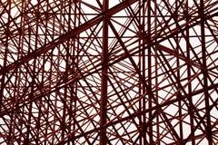 Strukturell orange bakgrund för abstrakt begrepp för stålkorskonstruktion Fotografering för Bildbyråer