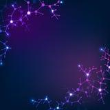 Strukturella molekylbeståndsdelar, neuronnätverk Vetenskaps- och kemivektorbakgrund Arkivbilder