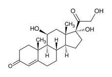 Strukturelle Formel des Cortisols Stockbild