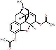 Strukturelle Formel des Heroins Stockbilder