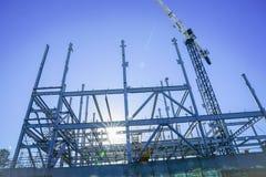 Strukturelles Stahlgerüst für Neubau stockbild