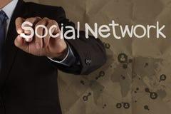 Strukturen för nätverket för handhandstil återanvänder den sociala med skrynkligt tillbaka Arkivbilder
