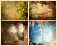 Strukturierte Collage von vier Jahreszeiten. Stockfotos