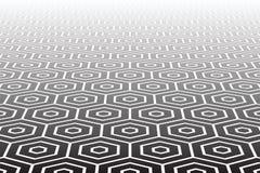 Strukturierte Hexagonoberfläche. Abstrakter geometrischer Hintergrund. Stockbild