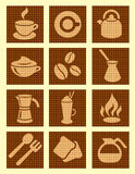 Strukturierte Ikonen des Kaffees Lizenzfreies Stockfoto