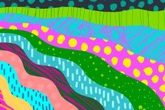 Strukturierte Karikaturhandgezogener Karikaturhintergrund Vibrierende Farben und verschiedene Formen lizenzfreie stockfotografie