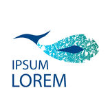 Strukturierte Logoschablone des Delphins Walvektor Lizenzfreie Stockfotografie