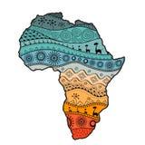 Strukturierte Vektorkarte von Afrika Von Hand gezeichnetes ethno Muster, Stammes- Hintergrund Auch im corel abgehobenen Betrag Au lizenzfreie abbildung