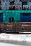 Strukturierter alter Hafen Montreal des Industriegebäudes Stockfoto