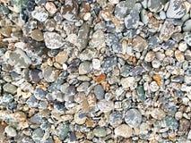 Strukturierter Hintergrund des nass Strandes der Kieselfelsensteine stockfoto