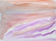 Strukturierter mehrfarbiger Hintergrund der Aquarellzusammenfassung mit Orange, lila und rosa Bürstenanschläge und -wellen lizenzfreie abbildung