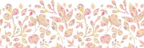 Strukturierter Pastell verlässt horizontales nahtloses Muster Stockfoto
