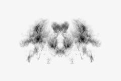 Strukturierter Rauch, abstraktes Schwarzes, lokalisiert auf weißem Hintergrund Stockfoto