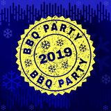 Strukturiertes BBQ-PARTEI Stempelsiegel auf Winter-Hintergrund vektor abbildung