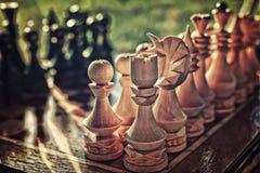 Strukturiertes Retro- Effektfoto des Schachs an Bord Lizenzfreies Stockbild
