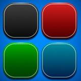Strukturiertes Substrat unter den Ikonen in Form von gerundeten Quadraten in den verschiedenen Farben Stockfotografie