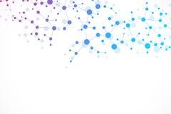 Strukturmolekyl och kommunikation Dna atom, neurons vetenskapligt begrepp Royaltyfria Bilder