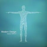 Struktury molekuła mężczyzna Abstrakcjonistycznego modela ciała ludzkiego DNA Medycyna, nauka i technika Naukowy wektor dla twój Obraz Stock