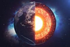 Struktury sedna ziemia Struktur warstwy ziemia Struktura ziemski ` s skorupy ziemi przekrój poprzeczny w przestrzeni ilustracja wektor