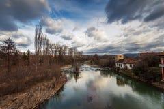Struma rzeka przy Nevestino, Kyustendil prowincja, Bułgaria Zdjęcia Royalty Free