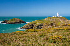 Strumble Head Lighthouse Wales. Strumble Head and the 1908 Lighthouse on the Pembrokeshire coast of Wales UK Europe Royalty Free Stock Photo