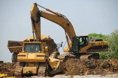 Strumentazione del trattore a cingoli della costruzione Immagine Stock