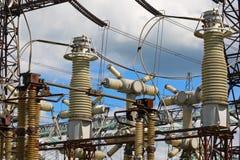 Strumentazione della sottostazione elettrica ad alta tensione Immagini Stock Libere da Diritti