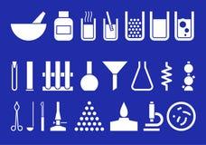 Strumentazione di laboratorio - insieme dei pictogrammes di vettore Immagine Stock