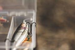 Strumentazione di pesca Copi lo spazio Amo di pesca fotografie stock