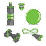 Strumentazione di sport Vettore Palla, bottiglia, cronometro, corda di salto royalty illustrazione gratis