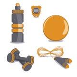 Strumentazione di sport Vettore Palla, bottiglia, cronometro, corda di salto, D royalty illustrazione gratis