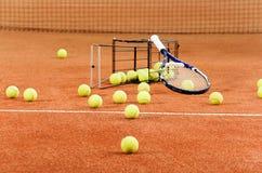 Strumentazione di tennis di addestramento Fotografie Stock Libere da Diritti