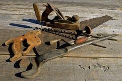 Strumenti antichi del carpentiere Fotografia Stock Libera da Diritti