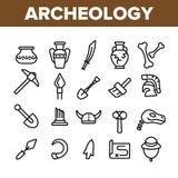 Strumenti archeologici ed insieme lineare delle icone di vettore degli scavi illustrazione vettoriale